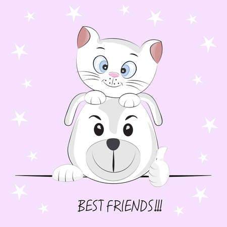 Cute best friends cat and dog. Graphics for t-shirts. Greeting card. Vector illustration.