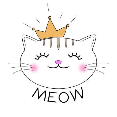 Sagoma gattino carino. Testa di gatto con scritta Meow. Design t-shirt per bambini. Biglietto d'auguri. Illustrazione vettoriale