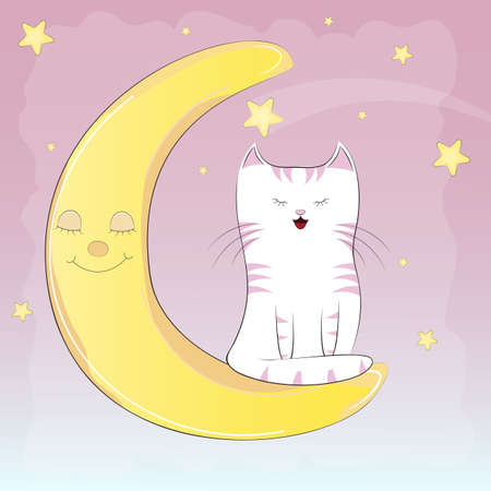 Cute white cat sitting on the moon. Graphics for t-shirts. Greeting card. Vector illustration. Illustration