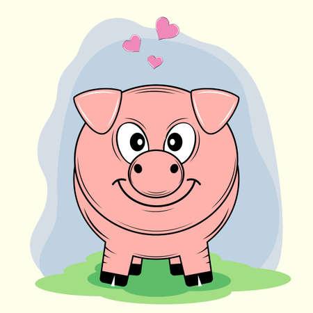 Pig cartoon illustration.