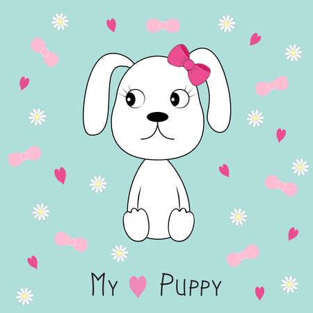 My lovely puppy girl. Hand drawn Valentines Day Greeting card with charming dog on white background. Vector illustration.  Stock Illustratie