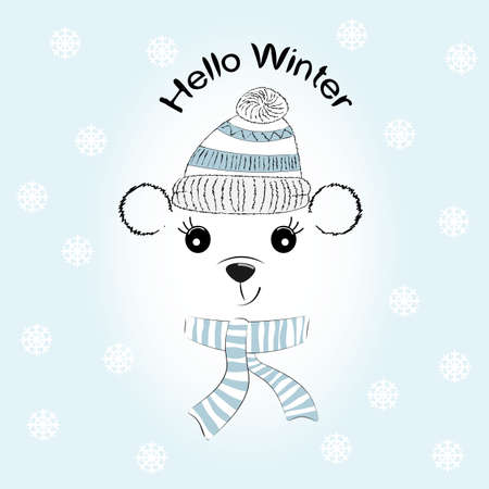 Silhouette Simpatico orsetto con berretto e sciarpa lavorati a maglia. Biglietto d'auguri. Illustrazione per la stampa su t-shirt. Archivio Fotografico - 91893678