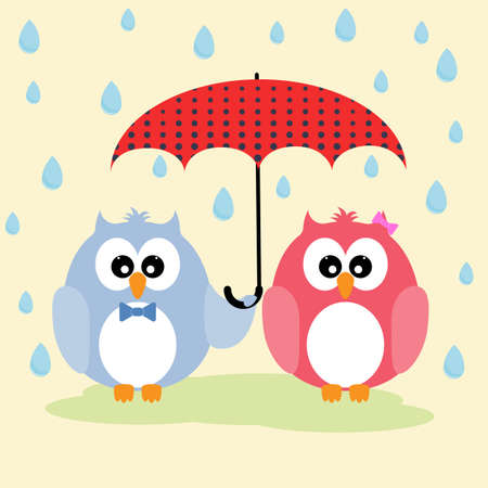 Cute lovely owls couple under umbrella. Picture for t-shirt graphics for kids and other uses.  Illustration