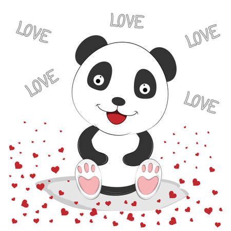 Cute Panda with Red Hearts. Greeting card for Valentine's Day. Vector illustration flat design.