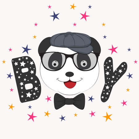 Portrait Cute boy panda in cap. Picture for t-shirt graphics for kids and other uses. Greeting card.