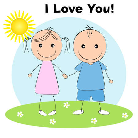 Greeting card with lovely couple young cute girl and boy holding hands. Picture for t-shirt graphics for kids and other uses. Flat design.  Иллюстрация