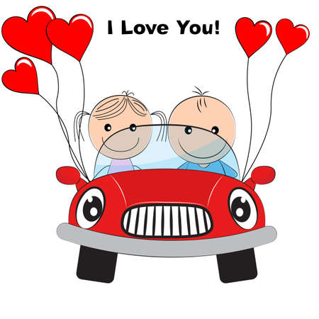 Greeting card with lovely couple young cute girl and boy traveling by red car. Picture for t-shirt graphics for kids and other uses. Flat design.