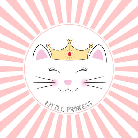 Cute fantasy kitty little princess. Sweet kids graphics for t-shirts. Greeting card.