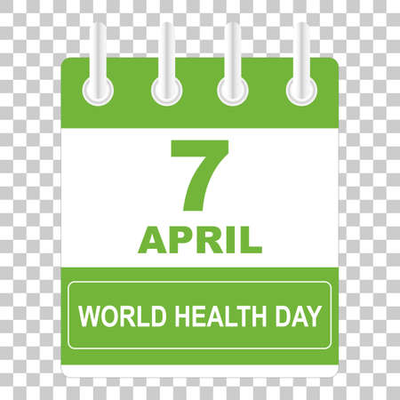 7 April International Health Day. Template Design concept Calendar style. Vector illustration