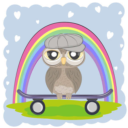 Cute Cartoon Owl in cap with skateboard on a rainbow background. Graphics for t-shirts. Greeting card. Vector illustration.