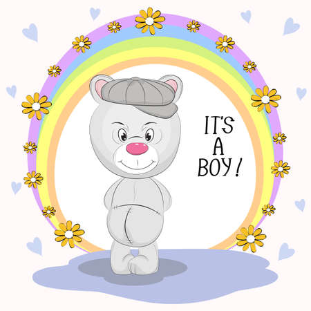 Cute  bear and inscription Its a Boy. Hand drawn Valentines Day Greeting card with charming teddy  on colored background. Vector illustration. Illustration