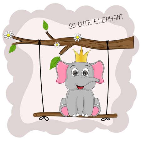 Cartoon lovely Elephant sits on a swing Illustration