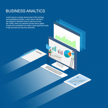 Poster abstract Graph analytics Financial Business Chart Flat. Vector Illustration