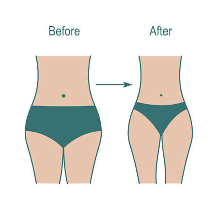 Fat and slim woman figure, weight weight loss after fitness classes. Female body silhouette.