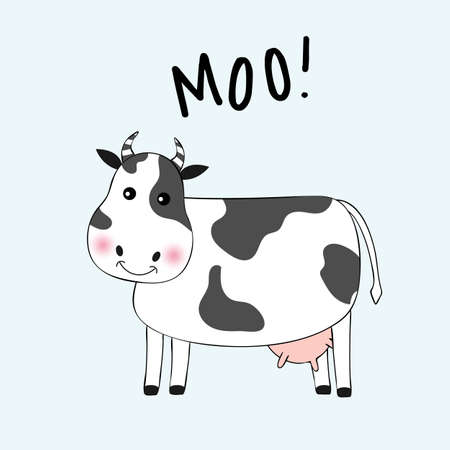 Cartoon cute cow girl and inscription Moo. Hand drawn Valentines Day Greeting card with charming pet on blue background. Vector illustration. Stock Vector - 104165327
