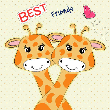 Greeting card two lovely giraffe and inscription best friends.Sweet kids graphics for t-shirts.