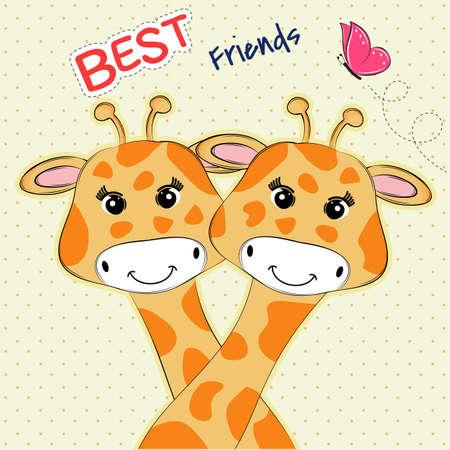 Tarjeta de felicitación con dos jirafas encantadoras y mejores amigos de inscripción. Gráficos para niños dulces para camisetas.