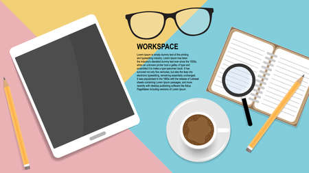 Home workplace concept for webmaster. Colored table surface with smartphone, coffee cup and other accessories.
