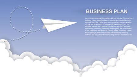 Business plan background. Airplane and clouds in paper style. Innovation and unique way concept. Vector illustration