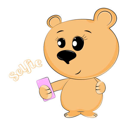 Cute baby brown teddy bear make the selfie photo on a smartphone isolated white background. Sweet kids graphics for t-shirts. Greeting card.