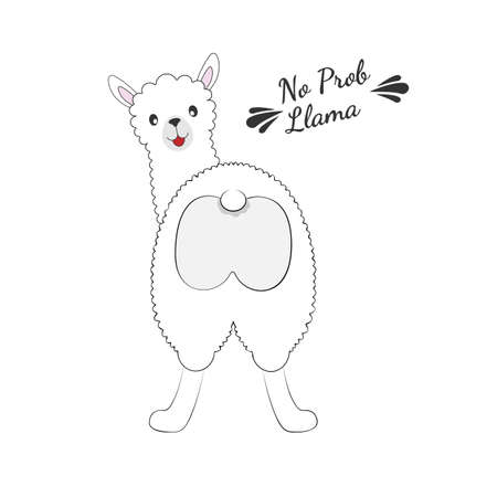 Cute cartoon lama looking backwards isolated on white background. Sweet kids graphics for t-shirts. Greeting card. Vectores