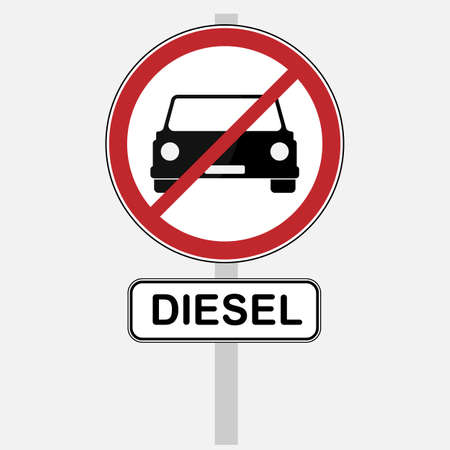 Illustration Diesel ban traffic sign is prohibiting to use vehicles and cars with diesel engine.