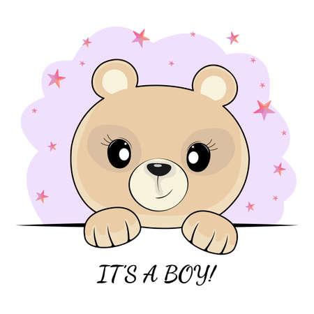Visage d'ours en peluche mignon fantaisie isolé sur fond bleu. c'est un slogan de fille. Les graphiques pour enfants pour les t-shirts et peuvent également être utilisés pour d'autres. Carte de voeux.
