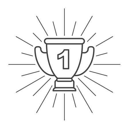 Trophy Cup Flat Icon with unit on white background Ilustrace
