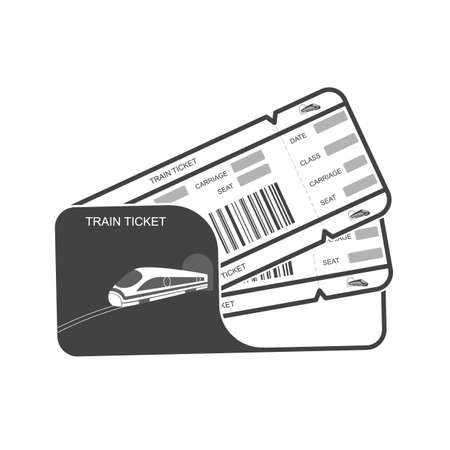 Modern icon Train ticket Isolated object on white background. Travel by Railway. Vector illustration. Vettoriali