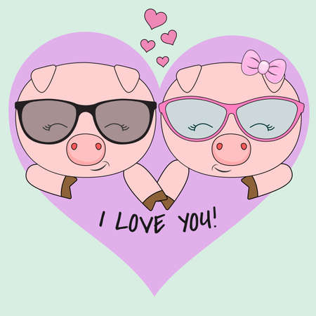 Cute two pigs, a boy and a girl in glasses isolated on a blue background with a pink heart. Sweet kids graphics for t-shirts. Vector illustration drawn in flat style. Greeting card. Иллюстрация