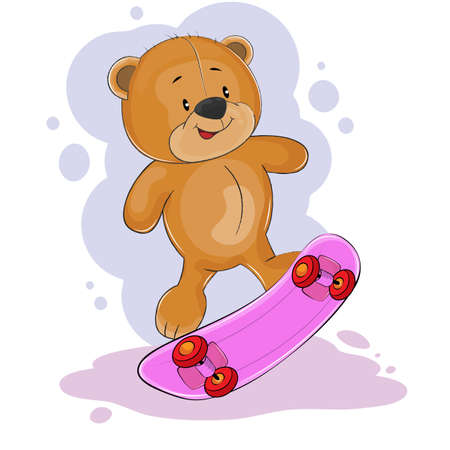 Joyeux ours en peluche fantastique à cheval sur une planche à roulettes. Concept pour l'impression des enfants. De jolis graphismes pour enfants pour les t-shirts. Carte de voeux. Vecteurs