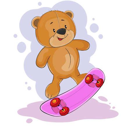 Oso de peluche de fantasía feliz montado en una patineta. Concepto para niños imprimir. Gráficos de niños dulces para camisetas. Tarjeta de felicitación. Ilustración de vector