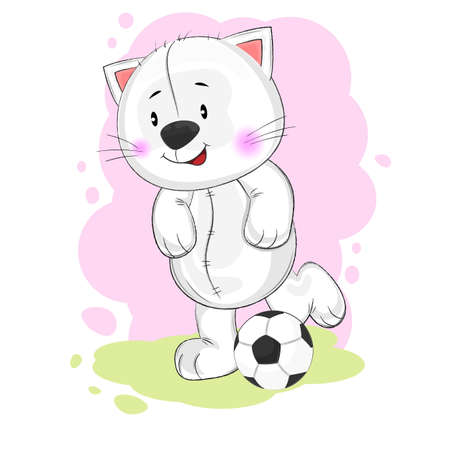 Cute funny cat playing soccer. This is a vector illustration hand drawn available for for t-shirt prints and other uses. Greeting card.