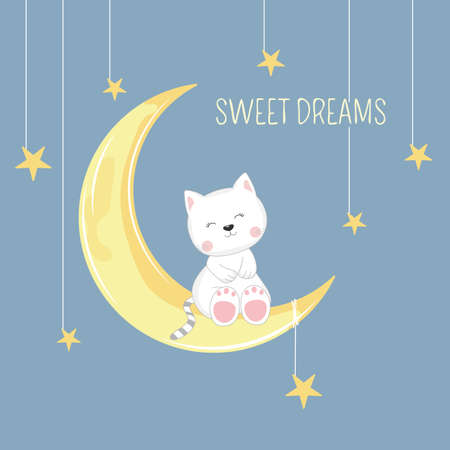 Cute sleeping kitten sitting in moon. Sweet dreams design element. Greeting card.