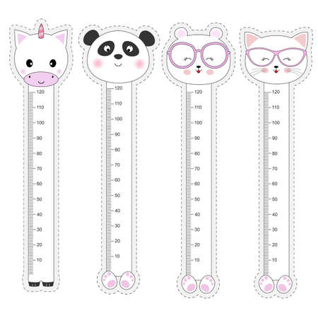 Vector set kids meter wall with a cute animals unicorn, panda, bear, cat and measuring ruler.