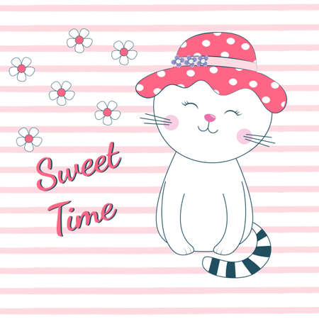 Beautiful sleeping cat girl with eyes closed dreams of love. The background is made in the style of pink stripes with white flowers. Drawing can be applied to children's t-shirts.