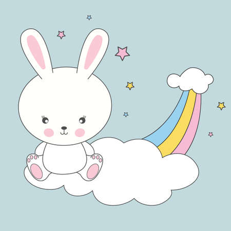 Beautiful cute rabbit sitting on a cloud and dreams of love. The background is made in the style of pink stars. Vector illustration drawn in flat style. Drawing can be applied to children's t-shirts.