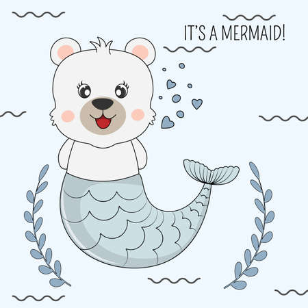 Hand drawn beautiful funny bear mermaid on a Isolated blue background. Illustration for children print design, kids t-shirt, baby wear. Vector greeting card.