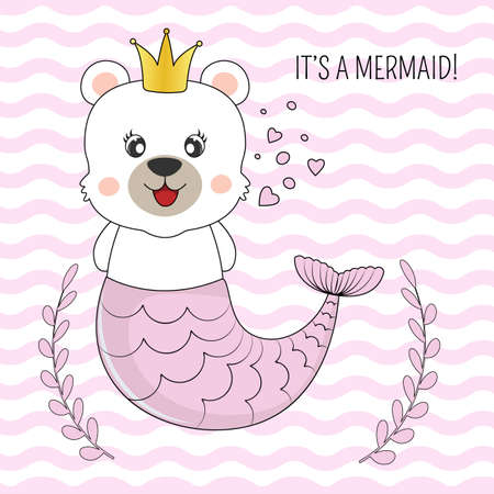Hand drawn beautiful funny bear mermaid princess on a Isolated pink stripes background. Illustration for children print design, kids t-shirt, baby wear. Vector greeting card.