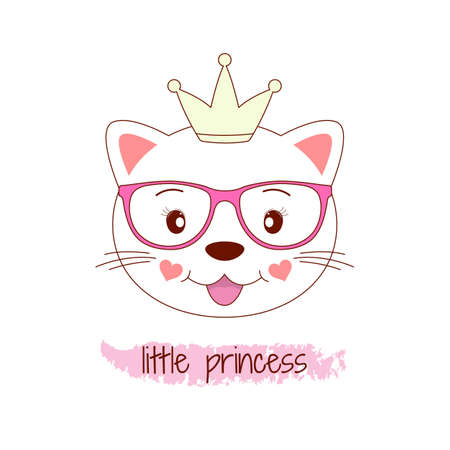 Beautiful adorable cat in glasses on a white background. Cute little princess. dreams. Humor illustration, t-shirt composition, hand drawn style print