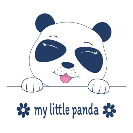 Beautiful adorable face teddy. Cute my little panda. Humor illustration, t-shirt composition, hand drawn style print