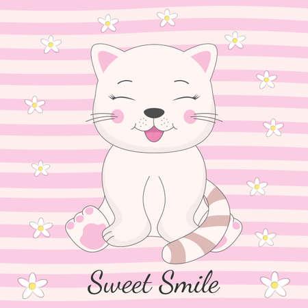 Adorable gato sentado y dulce sonrisa de inscripción. Dibujado a mano tarjeta de felicitación del día de San Valentín con gatito encantador sobre fondo rosa. Ilustración de vector.