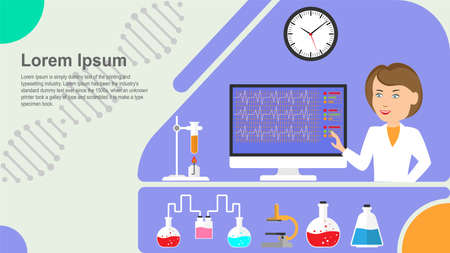 Concept d'équipement chimique et moléculaire en laboratoire sur fond bleu. Page de destination du modèle. Illustration vectorielle.