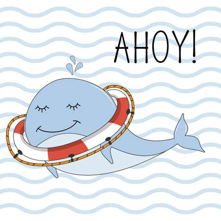 Greeting card with happy whale on background with blue stripes. Sweet kids graphics for t-shirts. Illustration