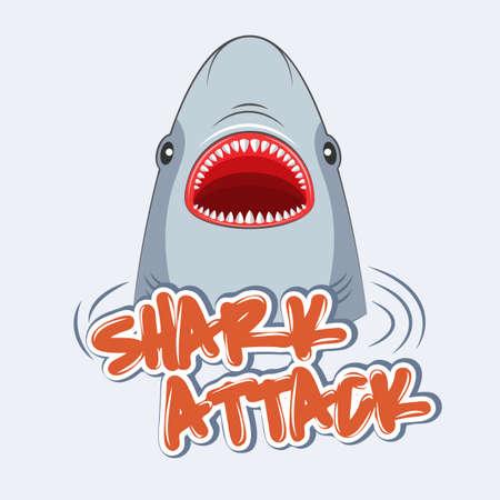 Warning sign shark attack. Poster for t-shirts.