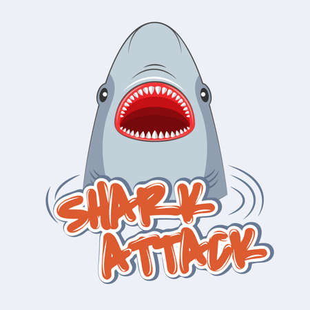 Warning sign shark attack. Poster for t-shirts.
