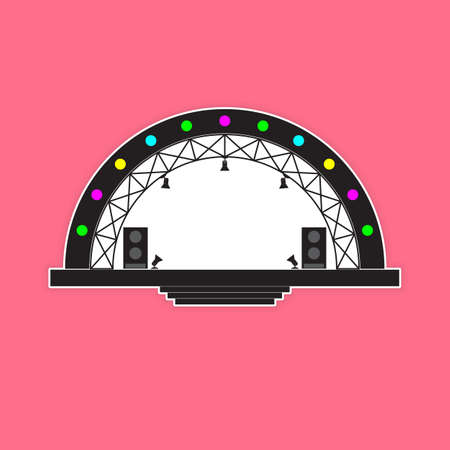 Concert stage and sound speakers isolated on pink background. Vector illustration.