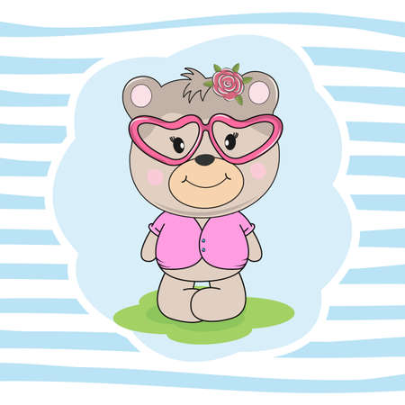 Beautiful cute bear in pink glasses dreams of love. Vector illustration drawn in flat style. Drawing can be applied to children's t-shirts. Illusztráció