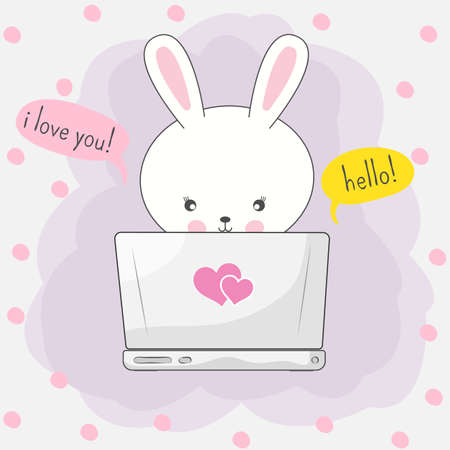 Cute cartoon bunny playing in computer game through the Internet. Graphic element for print design, greeting card, poster and t-shirt. Vector illustration