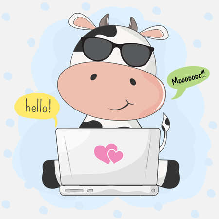 Cute cartoon cow playing in computer game through the Internet. Graphic element for print design, greeting card, poster and t-shirt.
